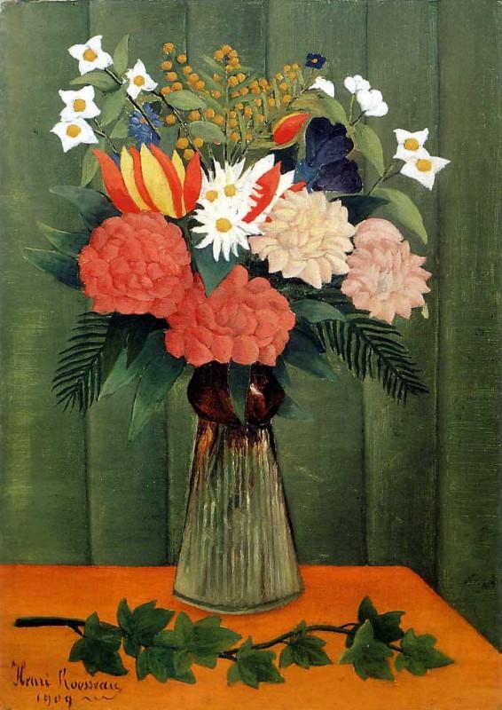 Букет цветов с веткой плюща  печать на холсте, натянут Руссо Анри - фото 1