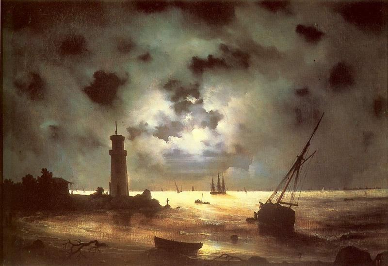 Берег моря ночью  печать на холсте, натянут Айвазовский Иван - фото 1