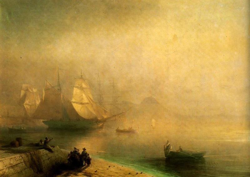 Неаполитанский залив в туманное утро  печать на холсте, натянут Айвазовский Иван - фото 1