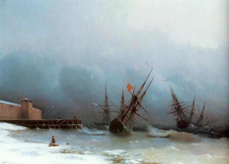 Сигнал бури  печать на холсте, натянут Айвазовский Иван - фото 1