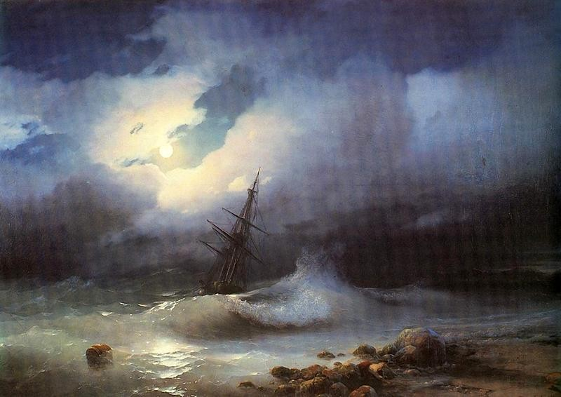 Бурное море ночью  печать на холсте, натянут Айвазовский Иван - фото 1