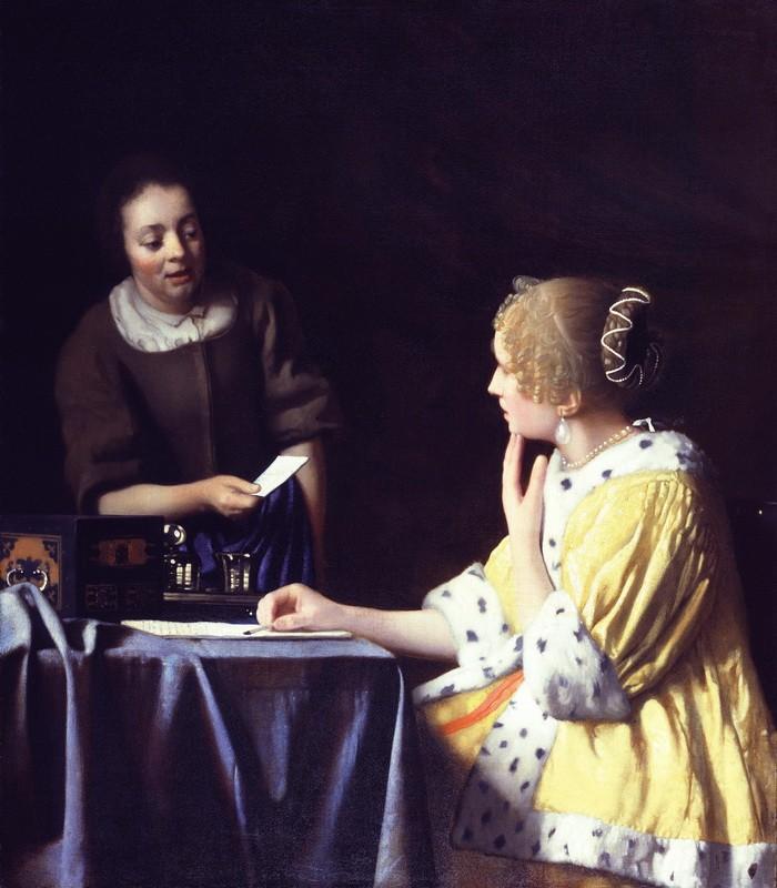 Дама и её служанка с письмом  печать на холсте, натянут Вермеер Ян Делфтский - фото 1