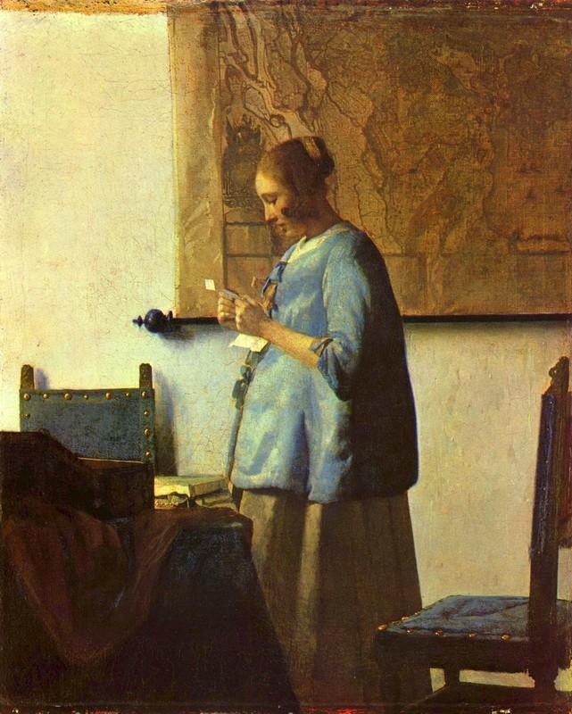 Дама в голубом, читающая письмо  печать на холсте, натянут Вермеер Ян Делфтский - фото 1