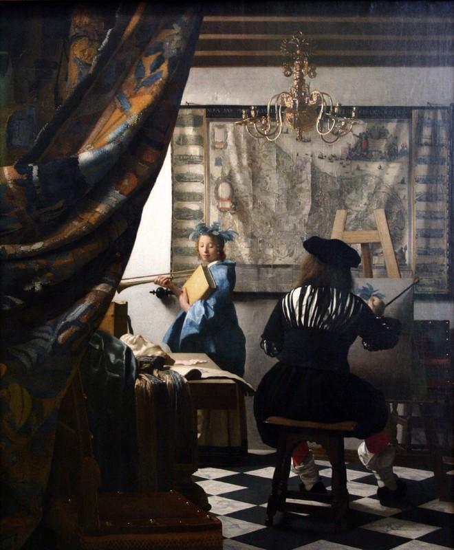 Искусство живописи  печать на холсте, натянут Вермеер Ян Делфтский - фото 1