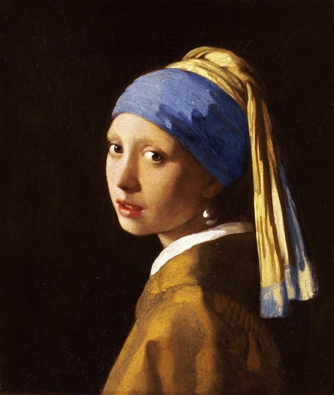 Девушка с жемчужной сережкой  печать на холсте, натянут Вермеер Ян Делфтский - фото 1
