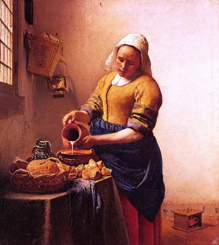 Служанка с кувшином молока  печать на холсте, натянут Вермеер Ян Делфтский - фото 1