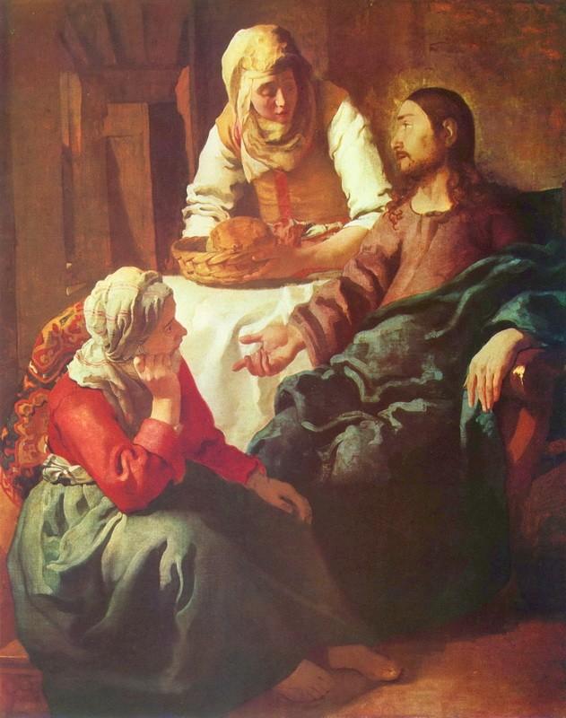 Христос в доме Марии и Марфы  печать на холсте, натянут Вермеер Ян Делфтский - фото 1
