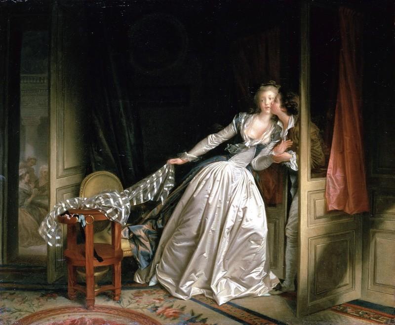 Поцелуй украдкой  печать на холсте, натянут Фрагонар Жан Оноре - фото 1