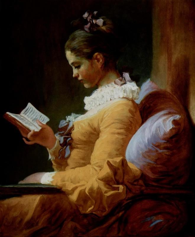 Читающая женщина  печать на холсте, натянут Фрагонар Жан Оноре - фото 1