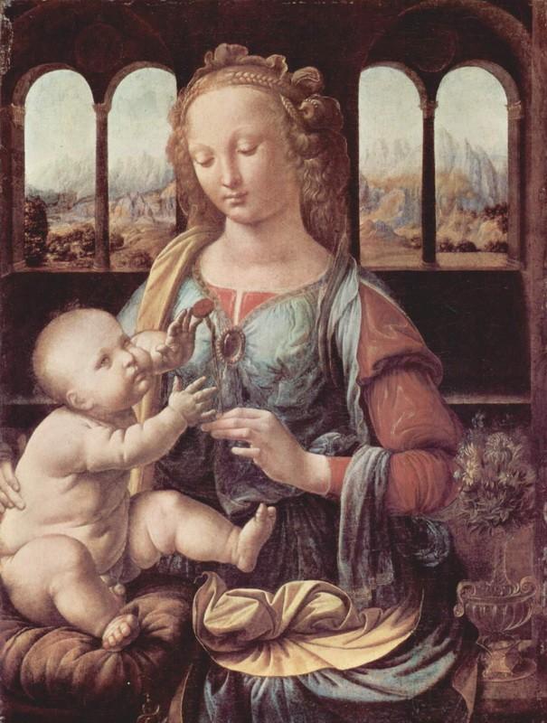 Мадонна с гвоздикой  печать на холсте, натянут Леонардо да Винчи - фото 1
