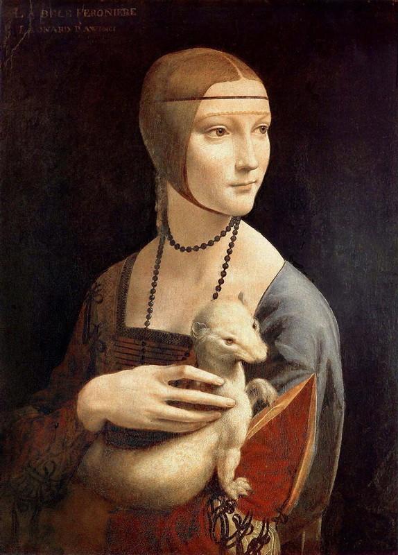 Дама с горностаем  печать на холсте, натянут Леонардо да Винчи - фото 1