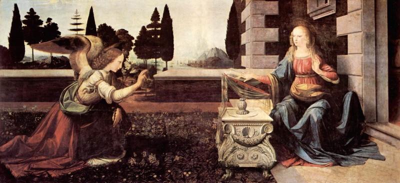 Благовещение  печать на холсте, натянут Леонардо да Винчи - фото 1