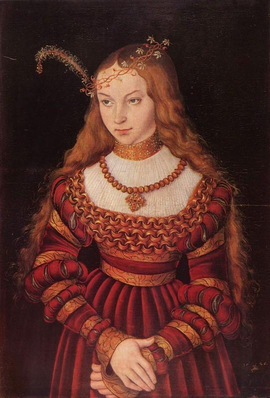 Портрет принцессы Сибиллы Клевской в наряде невесты  печать на холсте, натянут Кранах Лукас - фото 1