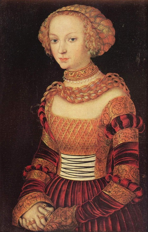 Портрет молодой дамы  печать на холсте, натянут Кранах Лукас - фото 1