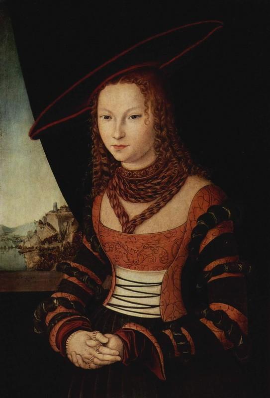 Портрет женщины  печать на холсте, натянут Кранах Лукас - фото 1