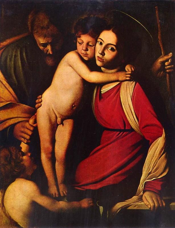 Святое семейство с Иоанном Крестителем  печать на холсте, натянут Караваджо Микеланджело Меризи - фото 1