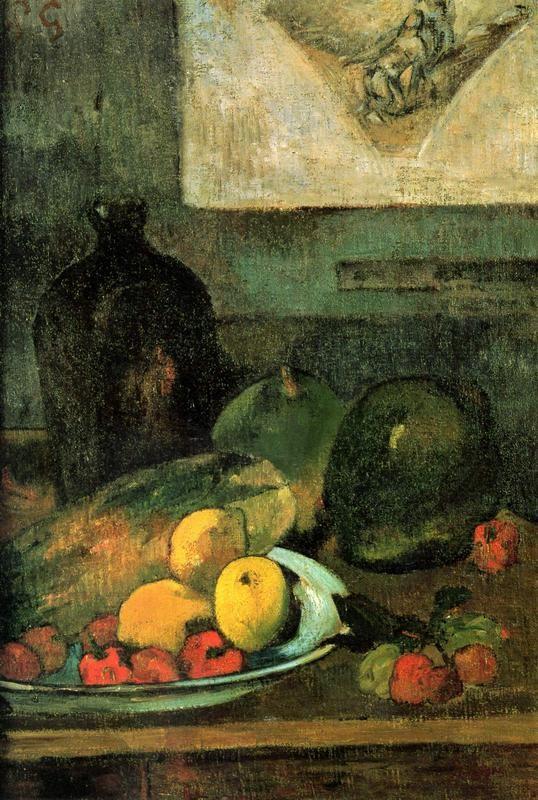 Натюрморт на фоне гравюры Делакруа  печать на холсте, натянут Гоген Поль - фото 1