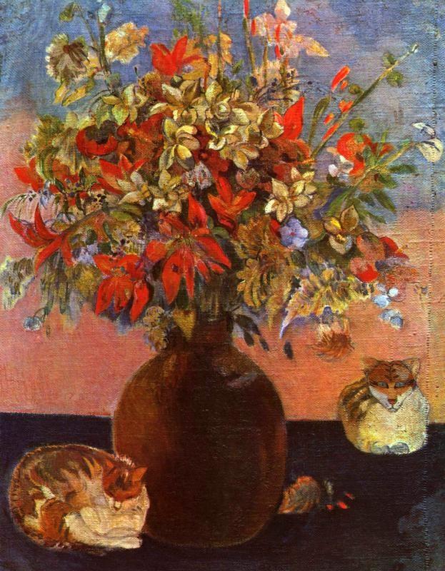 Цветы и кошки  печать на холсте, натянут Гоген Поль - фото 1