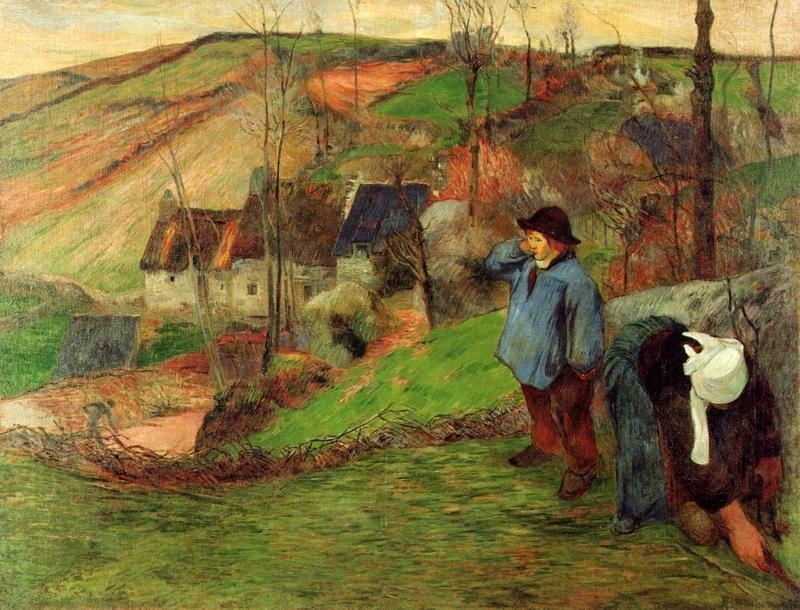 Бретонский пастух  печать на холсте, натянут Гоген Поль - фото 1
