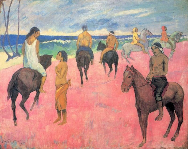 Всадники на побережье  печать на холсте, натянут Гоген Поль - фото 1