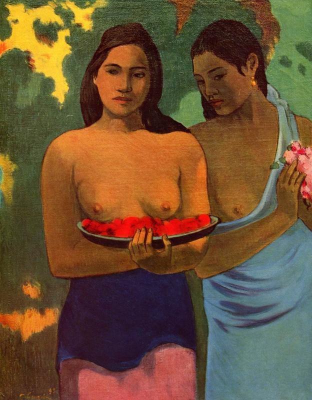 Две девушки с цветами манго  печать на холсте, натянут Гоген Поль - фото 1
