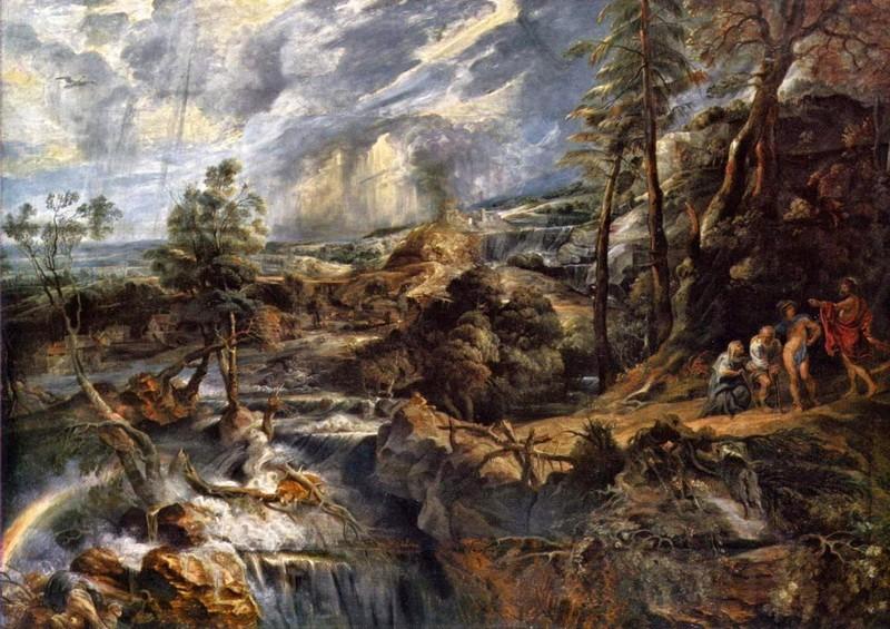 Грозовой пейзаж с Филемоном и Бавкидой  печать на холсте, натянут Рубенс Питер Пауль - фото 1