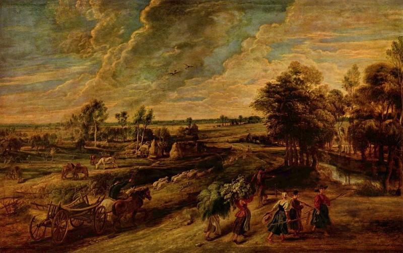 Крестьяне, возвращающиеся с поля  печать на холсте, натянут Рубенс Питер Пауль - фото 1