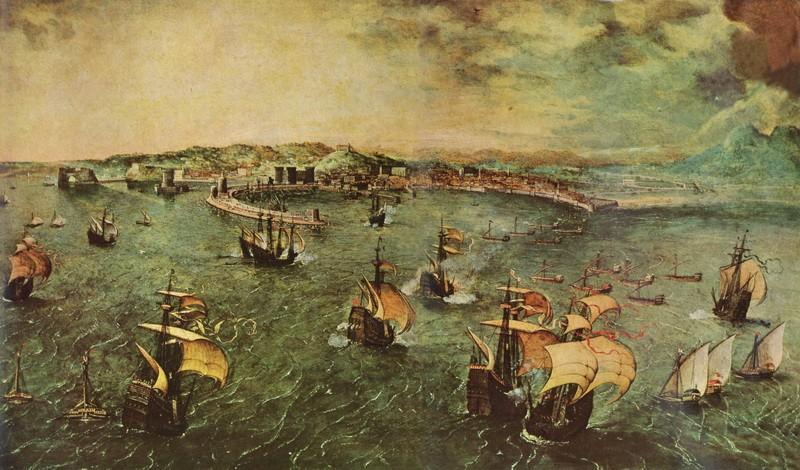 Гавань в Неаполе  печать на холсте, натянут Брейгель Питер - фото 1