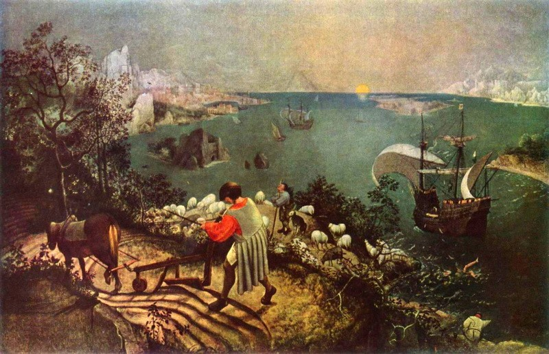 Пейзаж с падением Икара  печать на холсте, натянут Брейгель Питер - фото 1