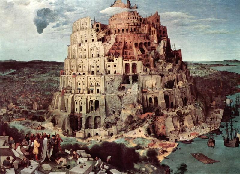 Строительство Вавилонской башни  печать на холсте, натянут Брейгель Питер - фото 1