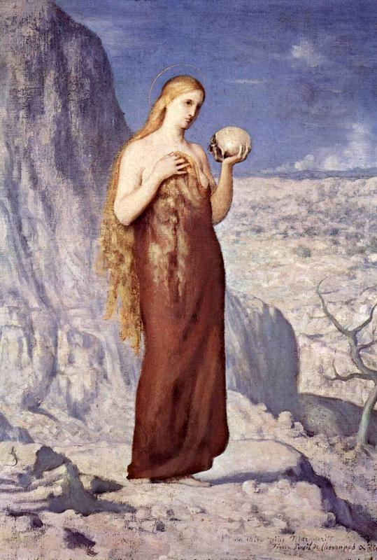 Мария Магдалина в пустыне  печать на холсте, натянут Пьер Пюви де Шаванн - фото 1