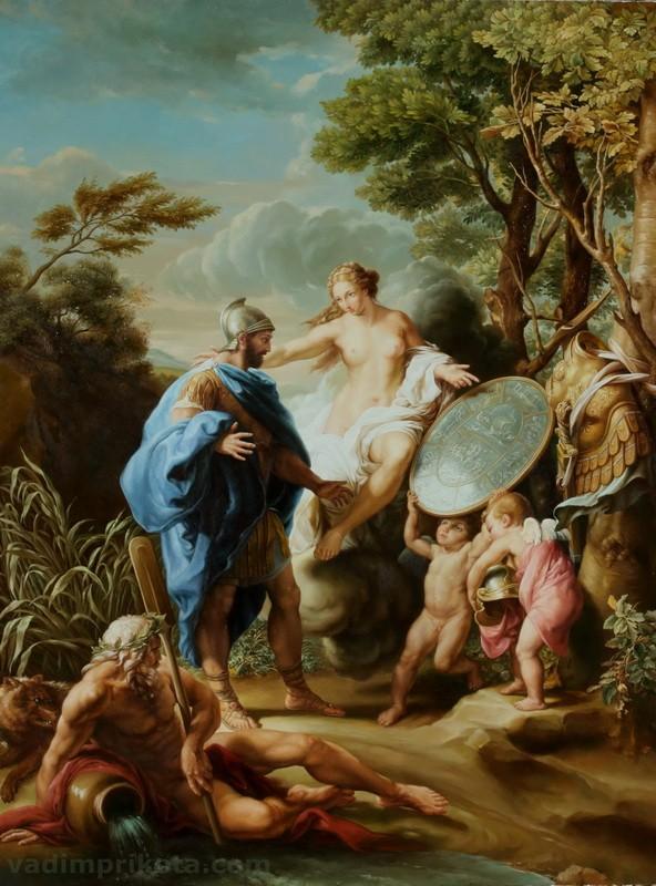 Венера, дарящая Энею доспехи, изготовленные Вулканом  печать на холсте, натянут Батони Помпео - фото 1