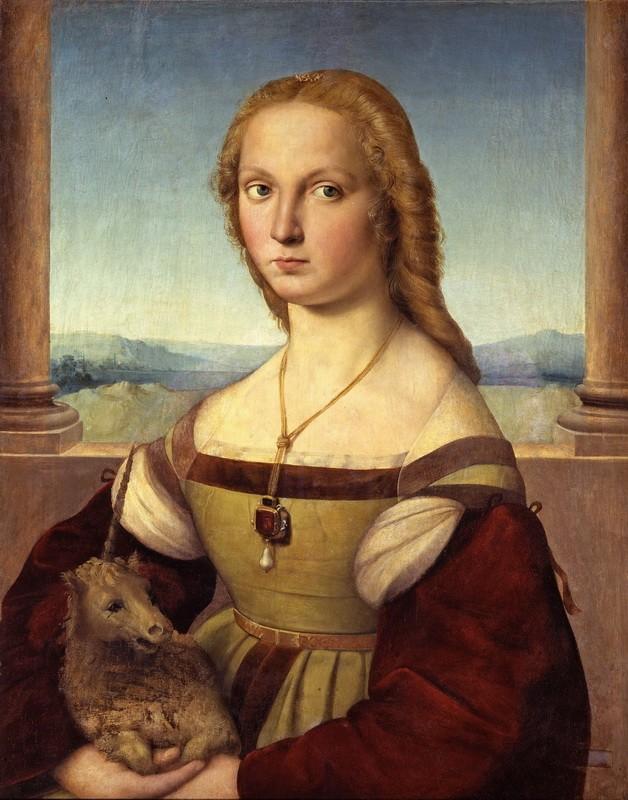 Портрет молодой женщины с единорогом  печать на холсте, натянут Санти Рафаэль - фото 1