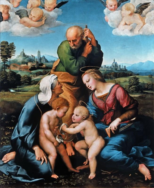 Святое семейство Каниджани. Святое семейство со св. Елизаветой и Иоанном Крестителем  печать на холсте, натянут Санти Рафаэль - фото 1