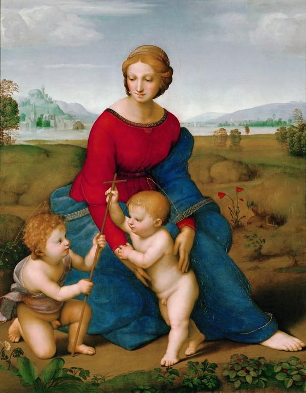 Мадонна в зелени. Мария с младенцем и Иоанном Крестителем  печать на холсте, натянут Санти Рафаэль - фото 1