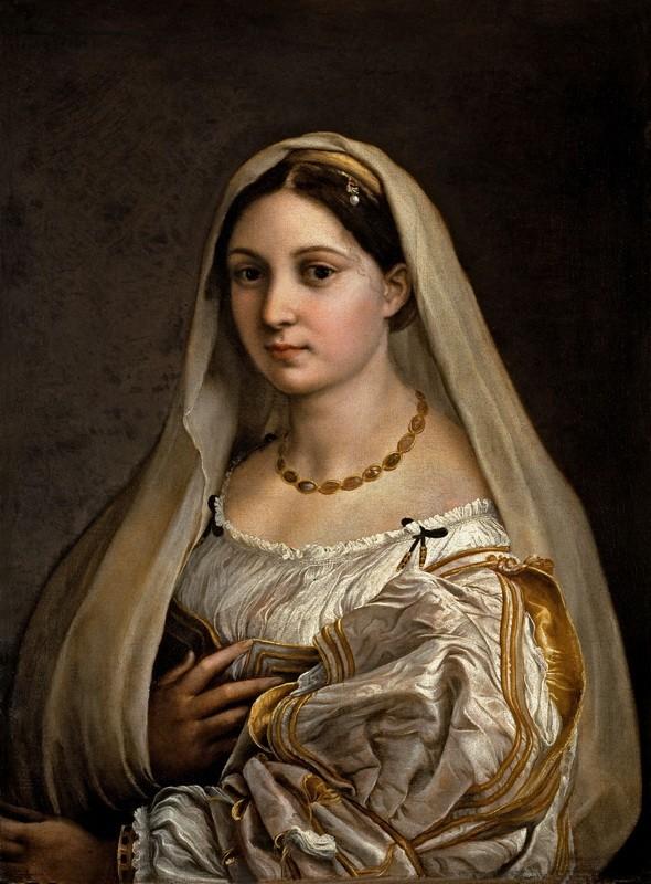 Женский портрет (Дама под покрывалом)  печать на холсте, натянут Санти Рафаэль - фото 1