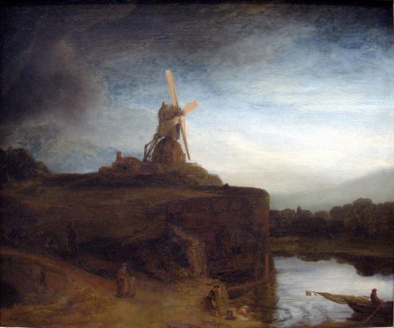 Мельница  печать на холсте, натянут Рембрандт Харменс ван Рейн - фото 1