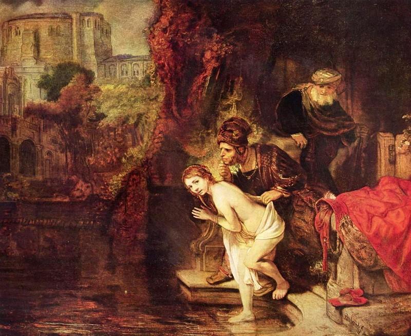 Сусанна и старцы  печать на холсте, натянут Рембрандт Харменс ван Рейн - фото 1
