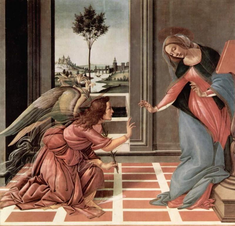 Благовещение  печать на холсте, натянут Боттичелли Сандро - фото 1