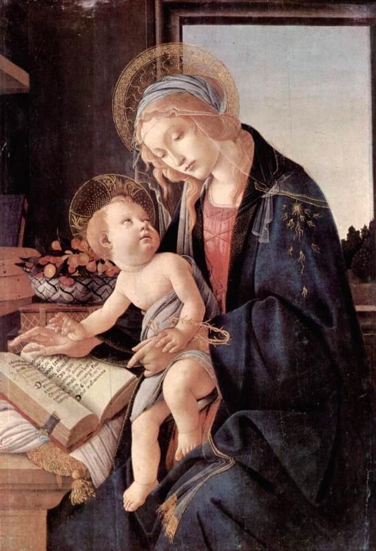Мадонна с книгой  печать на холсте, натянут Боттичелли Сандро - фото 1