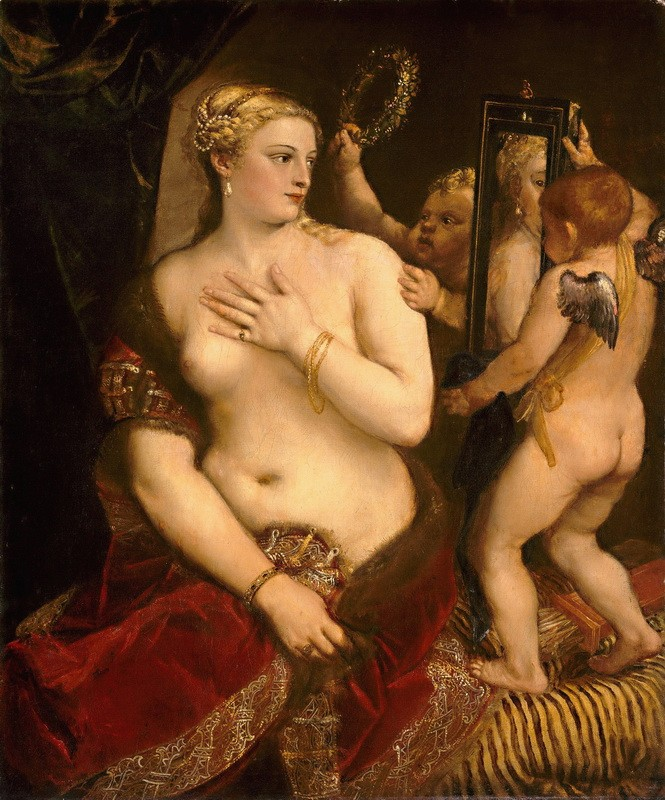 Венера перед зеркалом  печать на холсте, натянут Вечеллио Тициан - фото 1