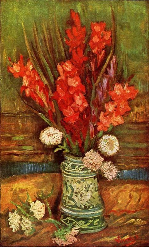 Натюрморт с красными гладиолусами  печать на холсте, натянут Ван Гог Винсент - фото 1
