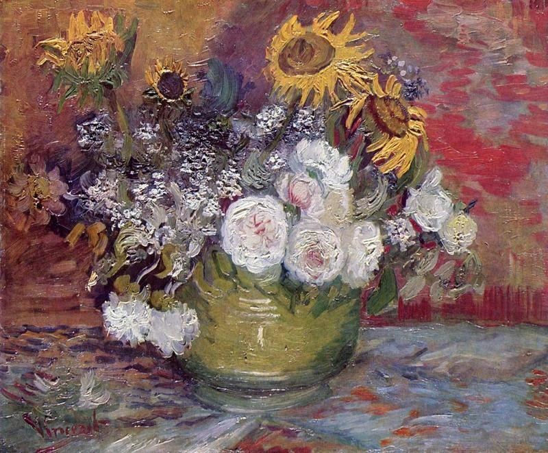 Натюрморт с розами и подсолнухами  печать на холсте, натянут Ван Гог Винсент - фото 1