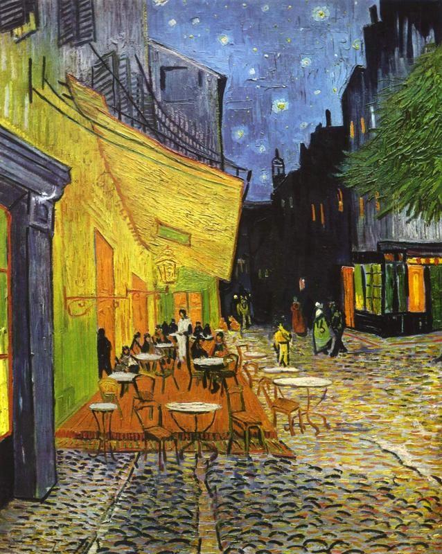 Терраса кафе ночью  печать на холсте, натянут Ван Гог Винсент - фото 1