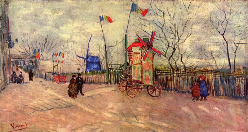 Уличная сцена на Монмартре, мельница в Пуавре  печать на холсте, натянут Ван Гог Винсент - фото 1
