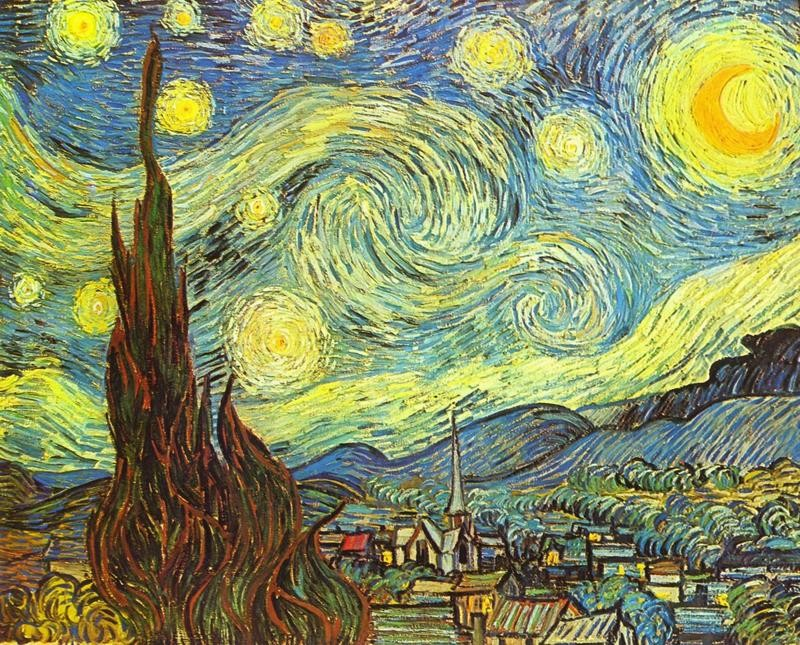 Звездная ночь  печать на холсте, натянут Ван Гог Винсент - фото 1