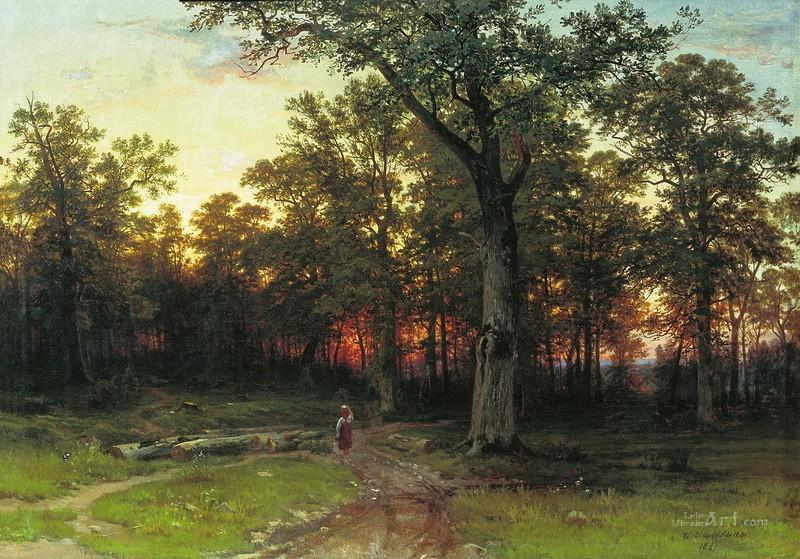 Лес вечером  печать на холсте, натянут Шишкин Иван - фото 1