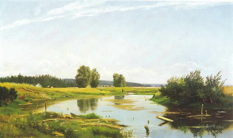 Пейзаж с  озером  печать на холсте, натянут Шишкин Иван - фото 1
