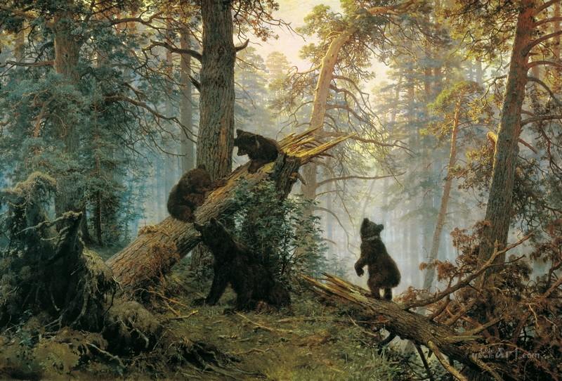 Утро в сосновом лесу  печать на холсте, натянут Шишкин Иван - фото 1