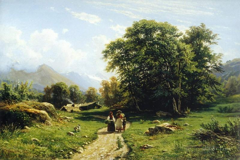Швейцарский пейзаж  печать на холсте, натянут Шишкин Иван - фото 1